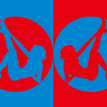 色とシルエットをモチーフにしたイラスト(赤水色)