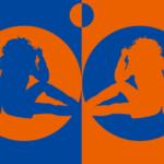 色とシルエットをモチーフにしたイラスト(橙青)