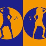 色とシルエットをモチーフにしたイラスト(オレンジ紺)