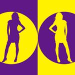 色とシルエットをモチーフにしたイラスト(紫黄)